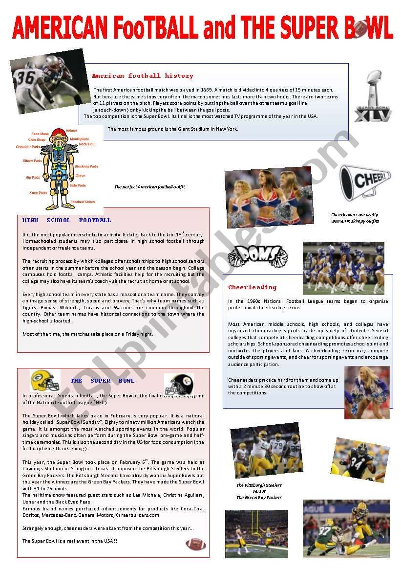 I Ve Made This Worksheet To Let My Pupils Know About American Football Football In High Schools Cheerleading And The Sup American Football Football American [ 1169 x 821 Pixel ]