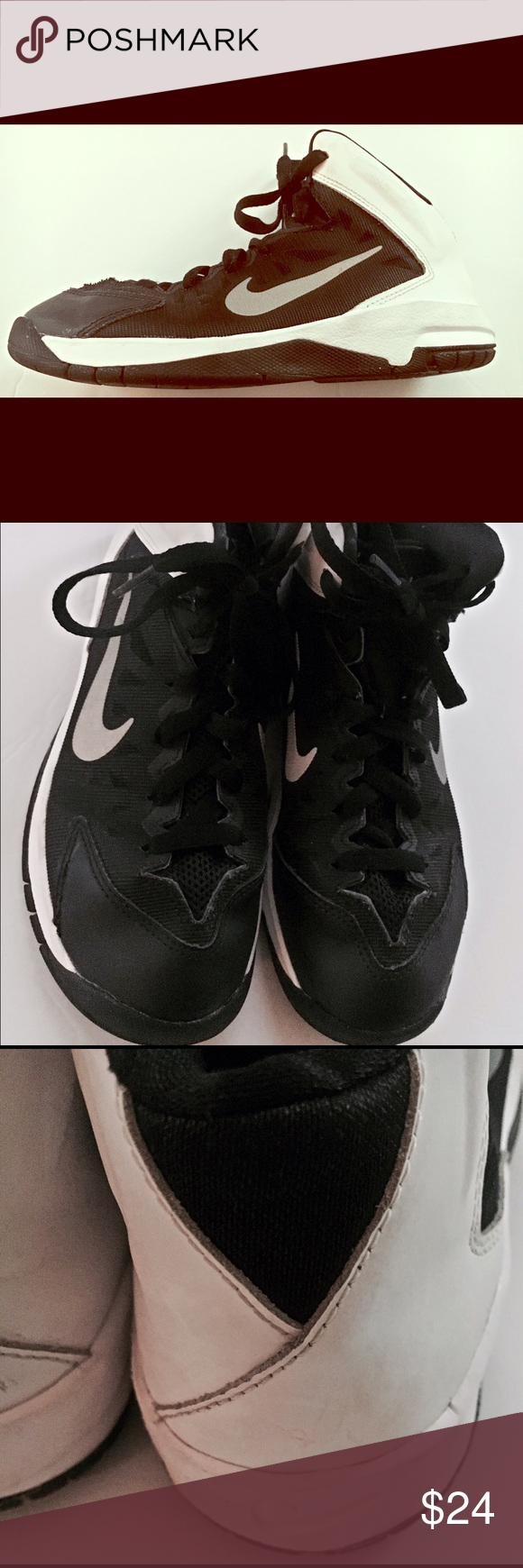 Nike Hyper Quickness Kids size 2.5Y black/white Nike Hyper Quickness Kids  size 2.5