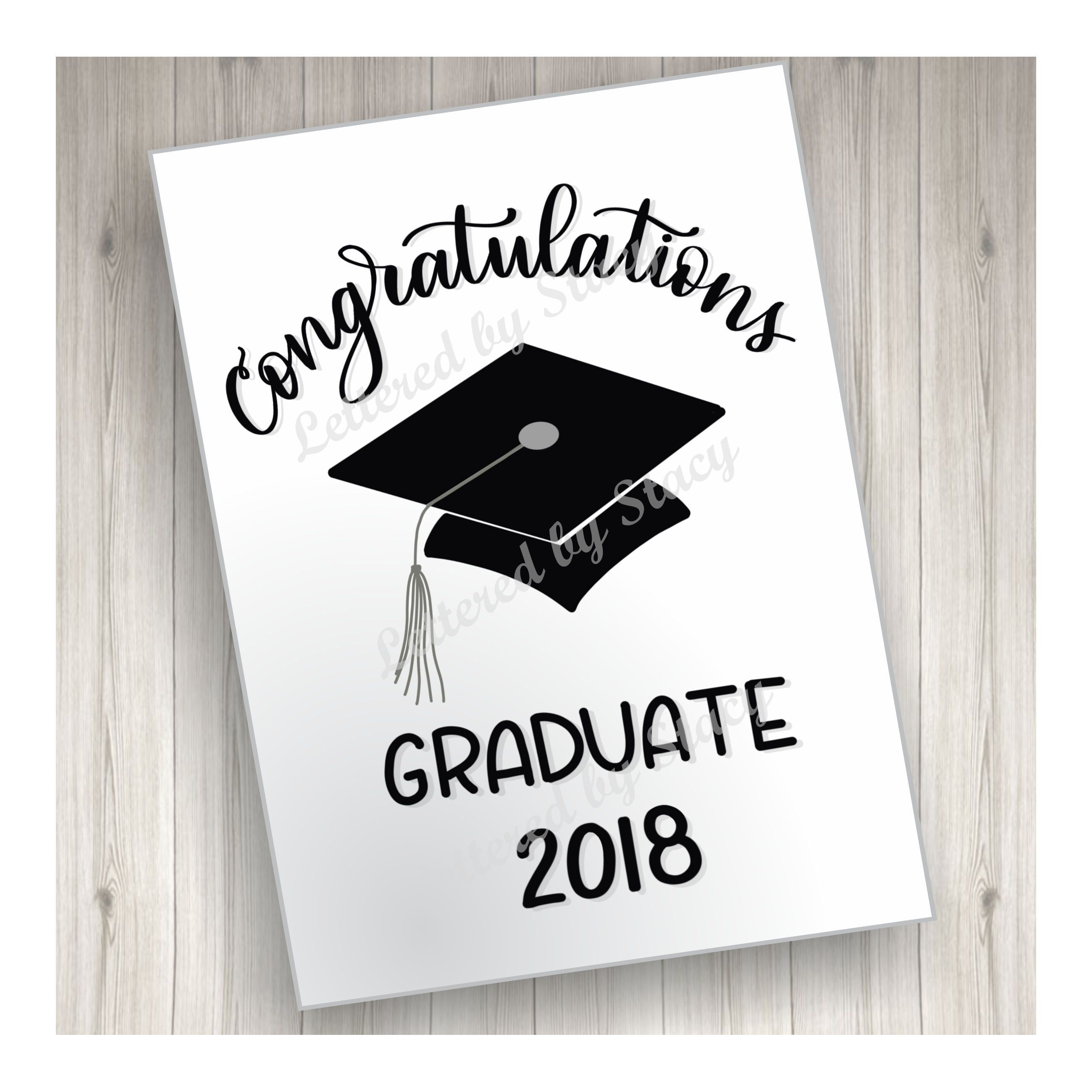 Graduation Card Congratulations Graduate With Cap And Year 2018