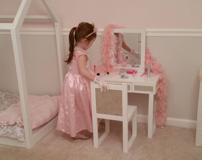 Kids Make Up Vanity Mirrored White Kids Dress Up Vanity Desk With