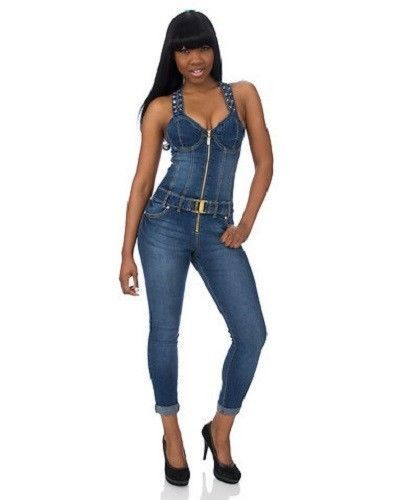 40737e4ad0 BABY PHAT Denim Corset Jumpsuit   KEYHOLE BACK   Womens Zip Lace Up ...