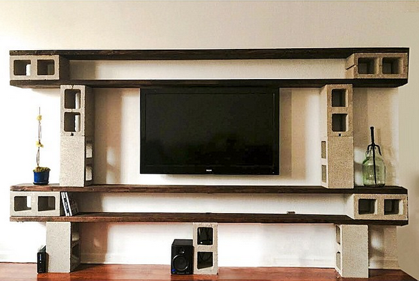 Industrial Style Wood Plank And Cinder Block Entertainment/media Center.  Design By Nisha Jacqueline
