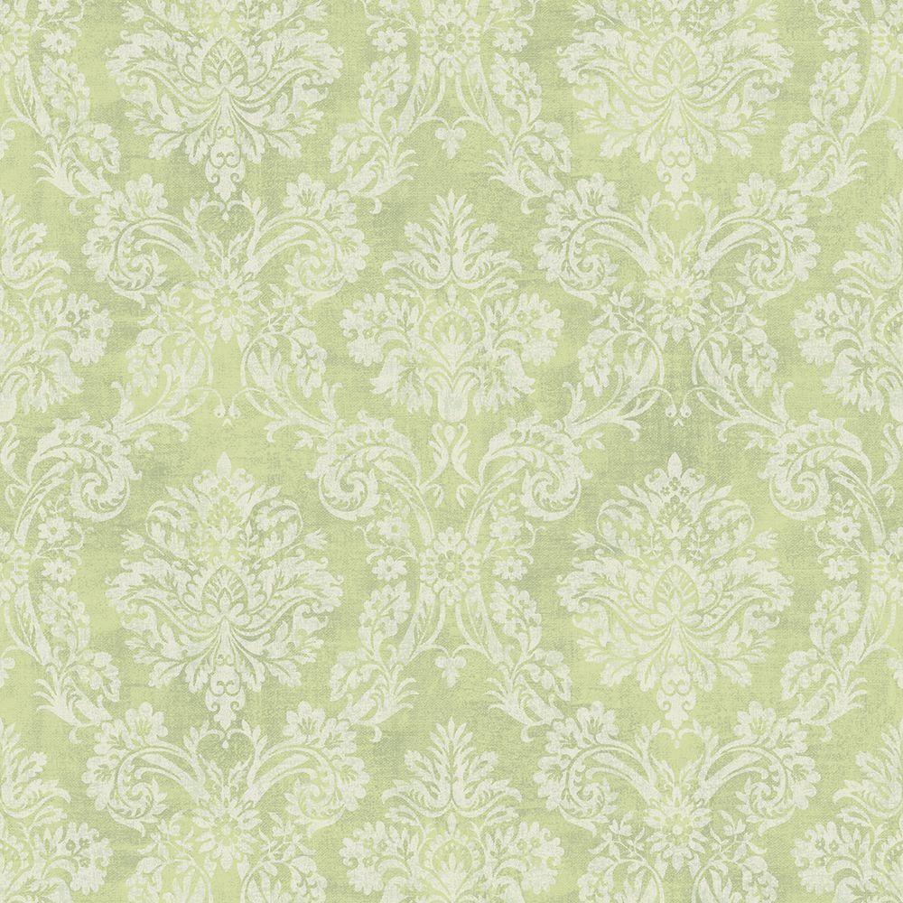 Kent Green Garden Damask Wallpaper Sample