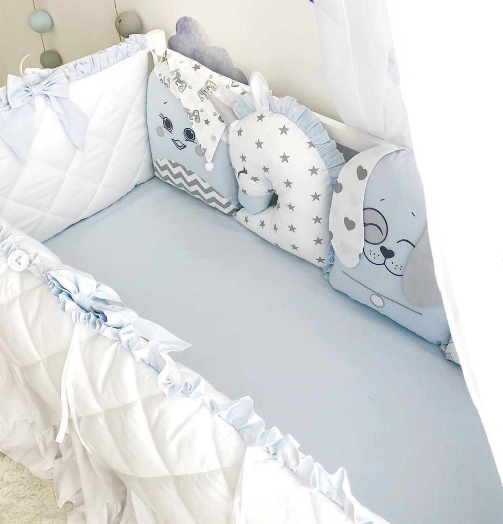 6pc Baby Crib Bedding Set Bumper Cartoon Baby Bedding Rainbow 7