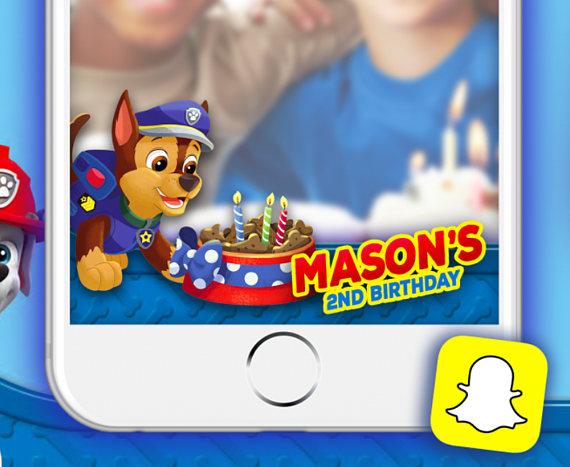Paw Patrol Snapchat Filter, Snapchat PAW PATROL birthday for