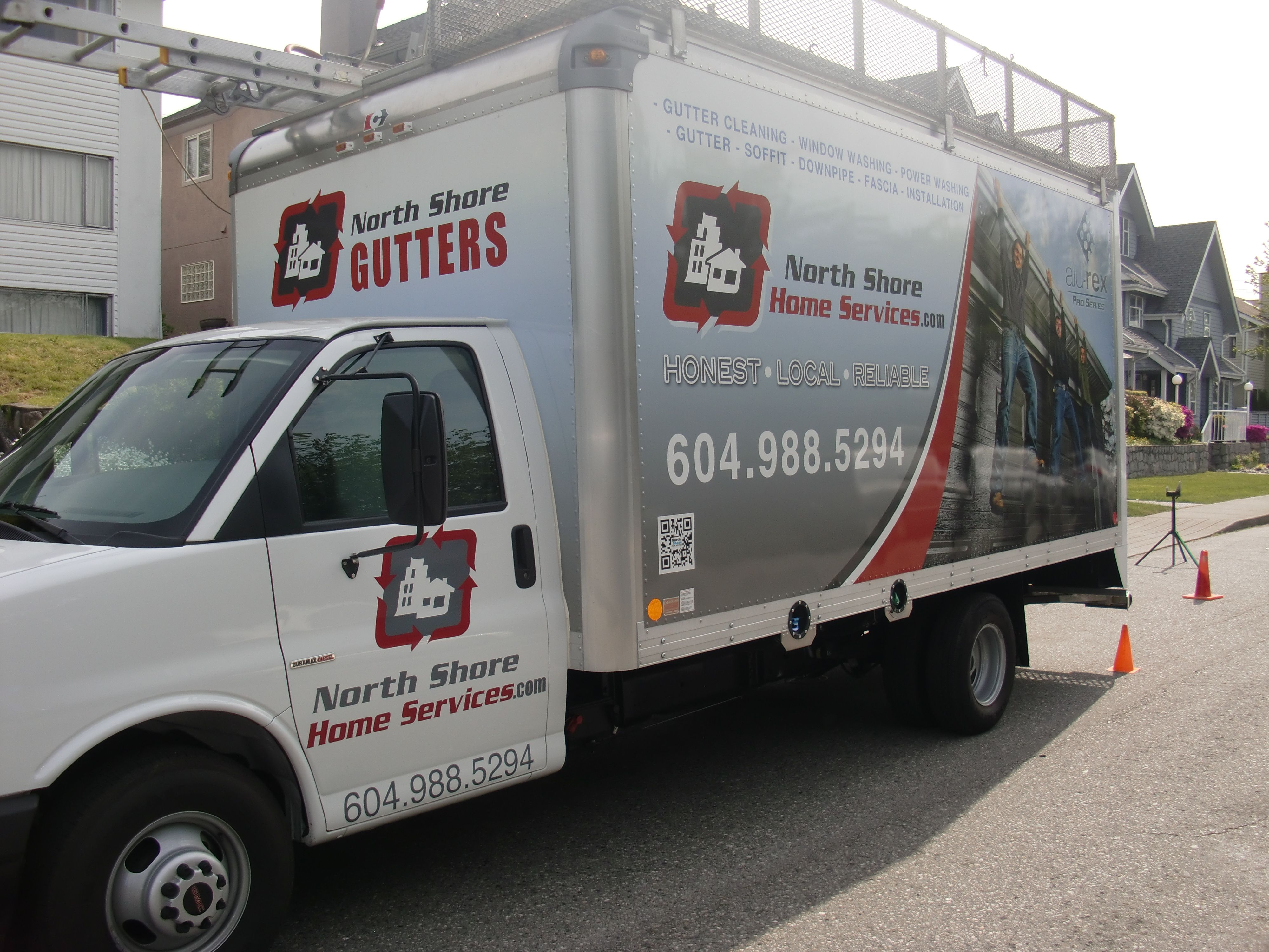 Our Gutter Installer Trucks Lookin Super Fiiiine We Custom Make The Seamless Gutters In The Back Of These Fab Seamless Gutters Gutter Repair Cleaning Gutters