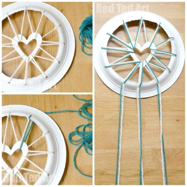 Paper Plate Crafts Dream Catchers with Hearts Dream