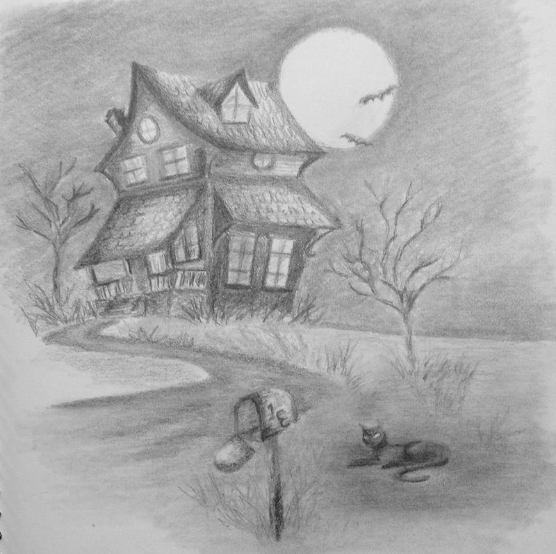 Halloween Haunted Houses Drawings Pencil 279356 800