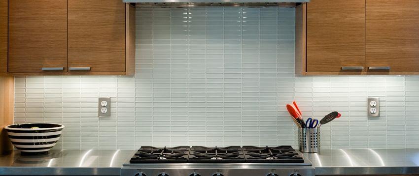 White Glass 1x4 Subway Tile Kitchen Backsplash Tile Designs