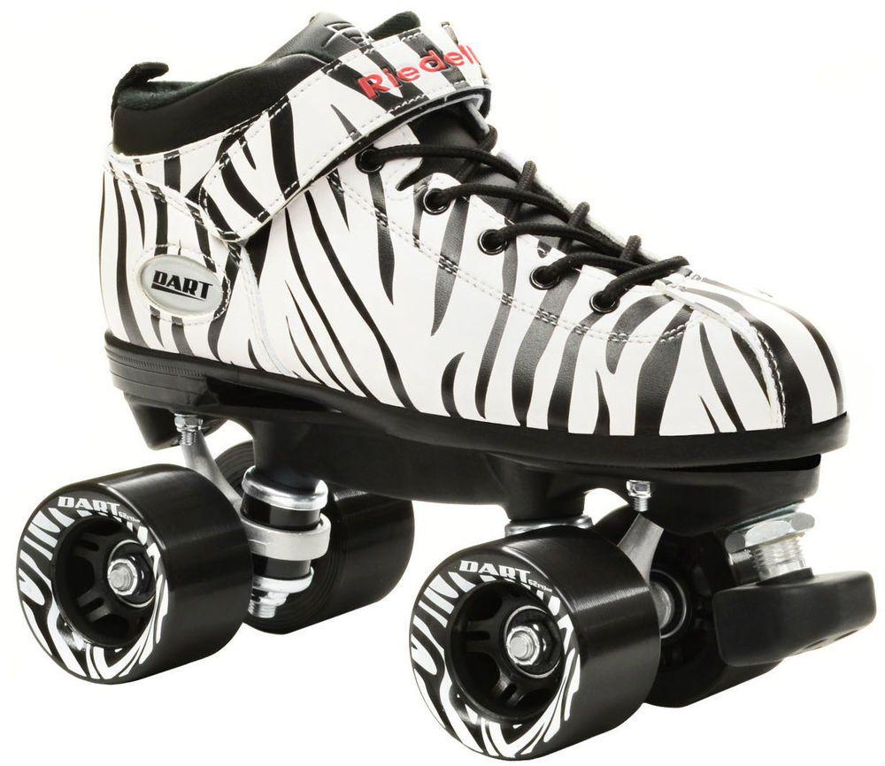 Zebra roller skates - Riedell Zebra Dart Black White Striped Quad Roller Derby Speed Skates