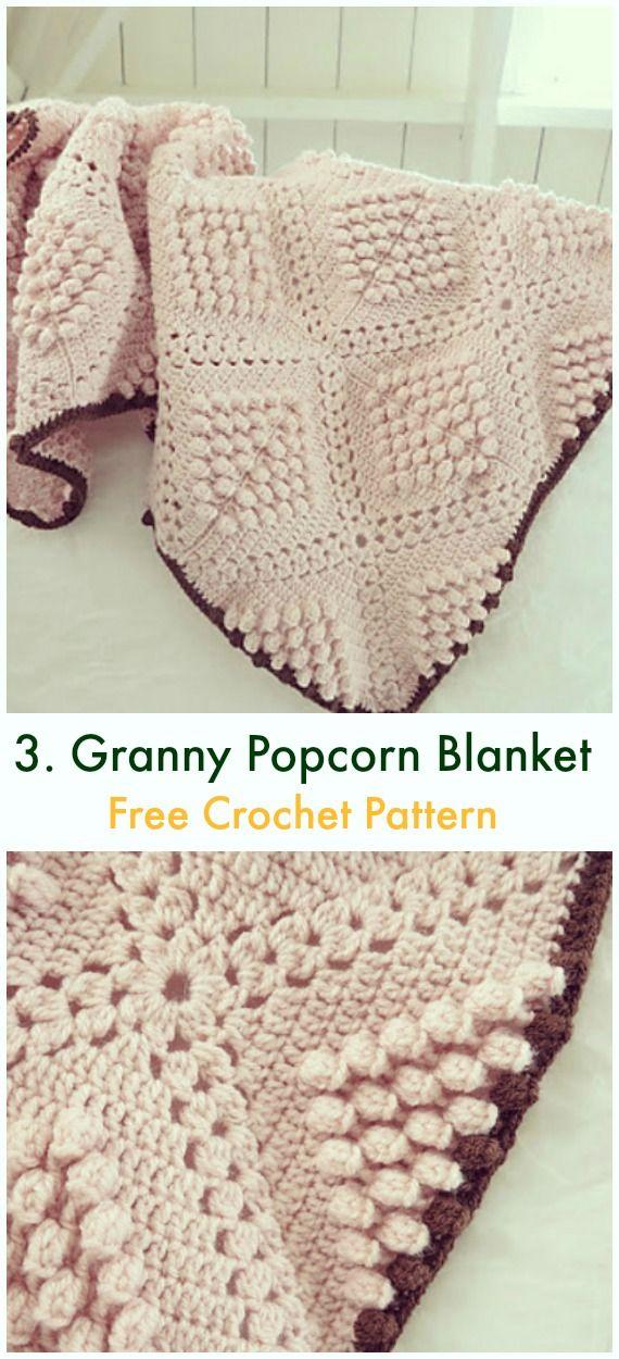 Bobble & Popcorn Blanket Free Crochet Patterns | Afghan