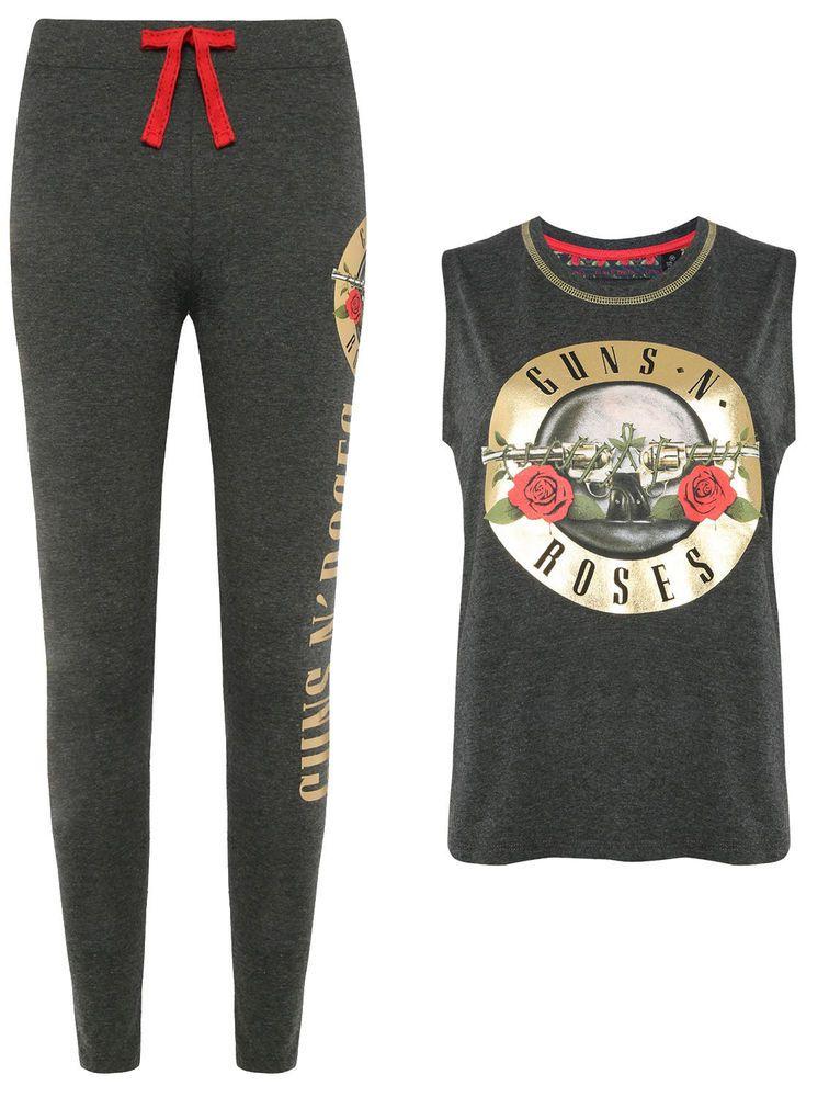 2cefadbc Ladies GUNS N ROSES Pyjamas Vest T Shirt Leggings Womens Pajamas Primark  Teens