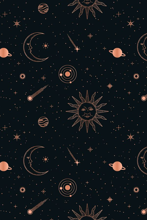 Celestial Seamless Patterns Mystic Wallpaper Witchy Wallpaper Space Phone Wallpaper
