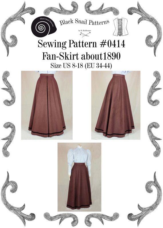 Edwardian Skirt (Fan-Skirt) worn about 1890 Sewing Pattern #0414 Size US 8-30 (EU 34-56) PDF Download