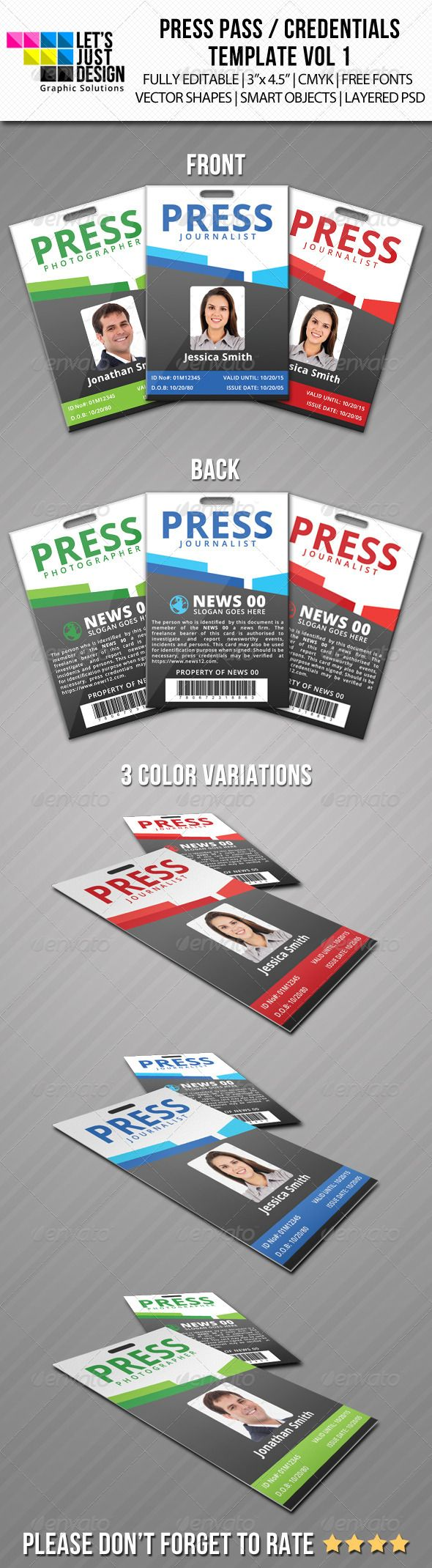 Press Pass / Credentials Template Vol 1 | Photoshop, Template and ...