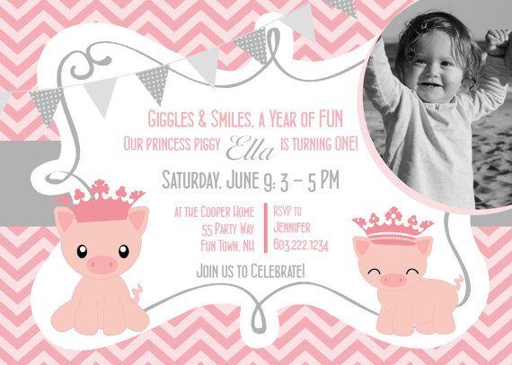 Schwein Prinzessin Erster Geburtstag Einladung Zur Party Girl   Chevron  Grau   Schwein Geburtstag Einladung Mädchen