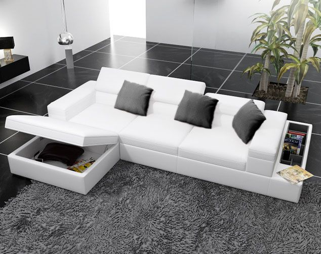 Madison Leather Sectional Sofa with Storage : white sofa sectional - Sectionals, Sofas & Couches
