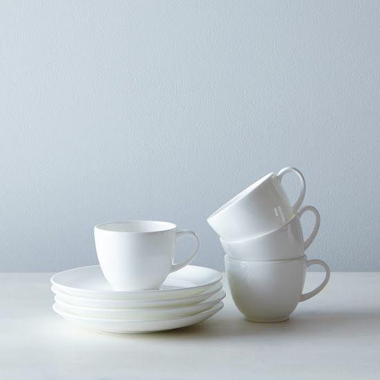 Purio White Espresso Cup Saucer Set Of 4 Whiteware