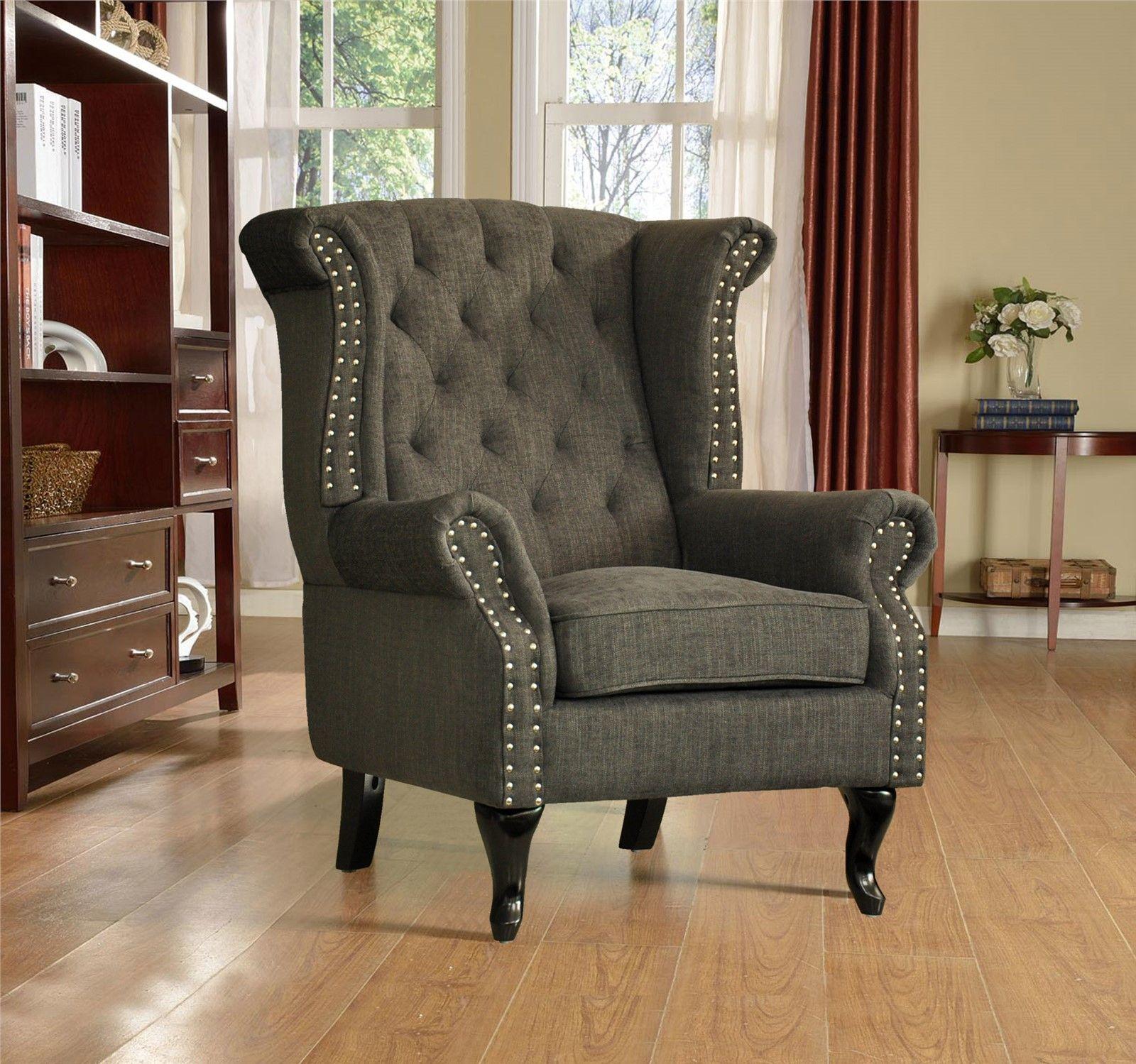New Roxy Luxury Fabric Fireside Wing Back Chair / Armchair