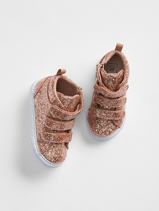 d3b9319aba4 Gap Baby Glitter Strappy Hi-Top Sneakers Rose Gold
