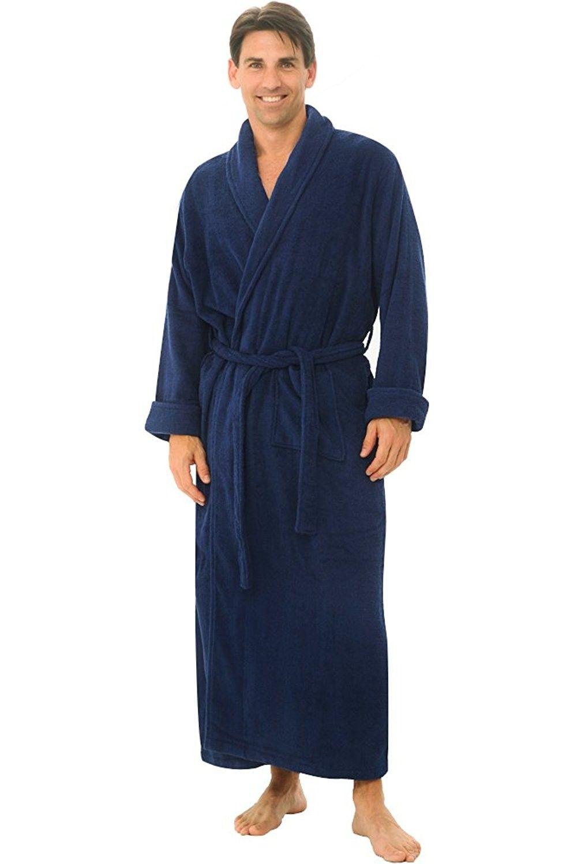Mens Turkish Terry Cloth Robe- Long Cotton Bathrobe - Navy Blue -  C411DI6VILP c63cfa794