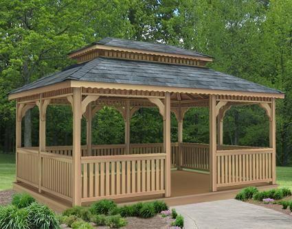 12 X 16 Cedar Rectangular Double Roof Gazebo Gazebo De Jardin Kiosco De Madera Arquitectura Paisajista