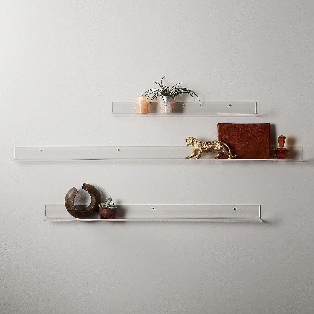 Acrylic Wall Shelves Cb2 In 2020 Acrylic Wall Shelf Wall Shelves Modern Shelving
