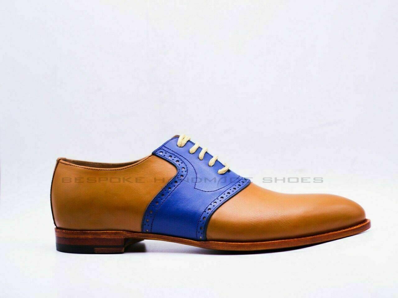 Zapatos De Cordones Formales Derby De Cuero Genuino Y Azul Marino Hechos A Mano Leather Oxfords Leather Heeled Boots Mens Black Dress Shoes [ 960 x 1280 Pixel ]