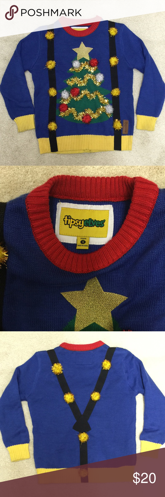 Kids Ugly Sweater w Suspenders Super cute, fun and playful