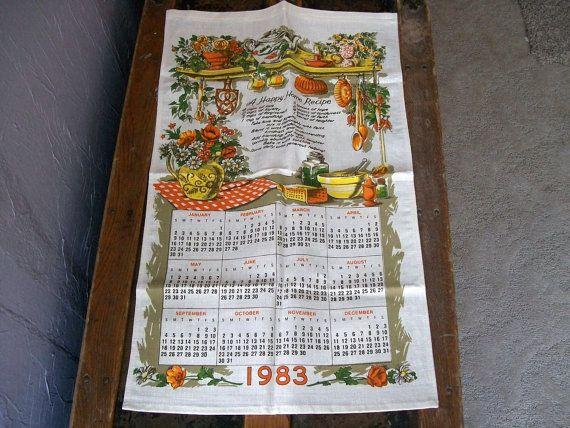 1983 Tea Towel Tea Towels Vintage Calendar Towel