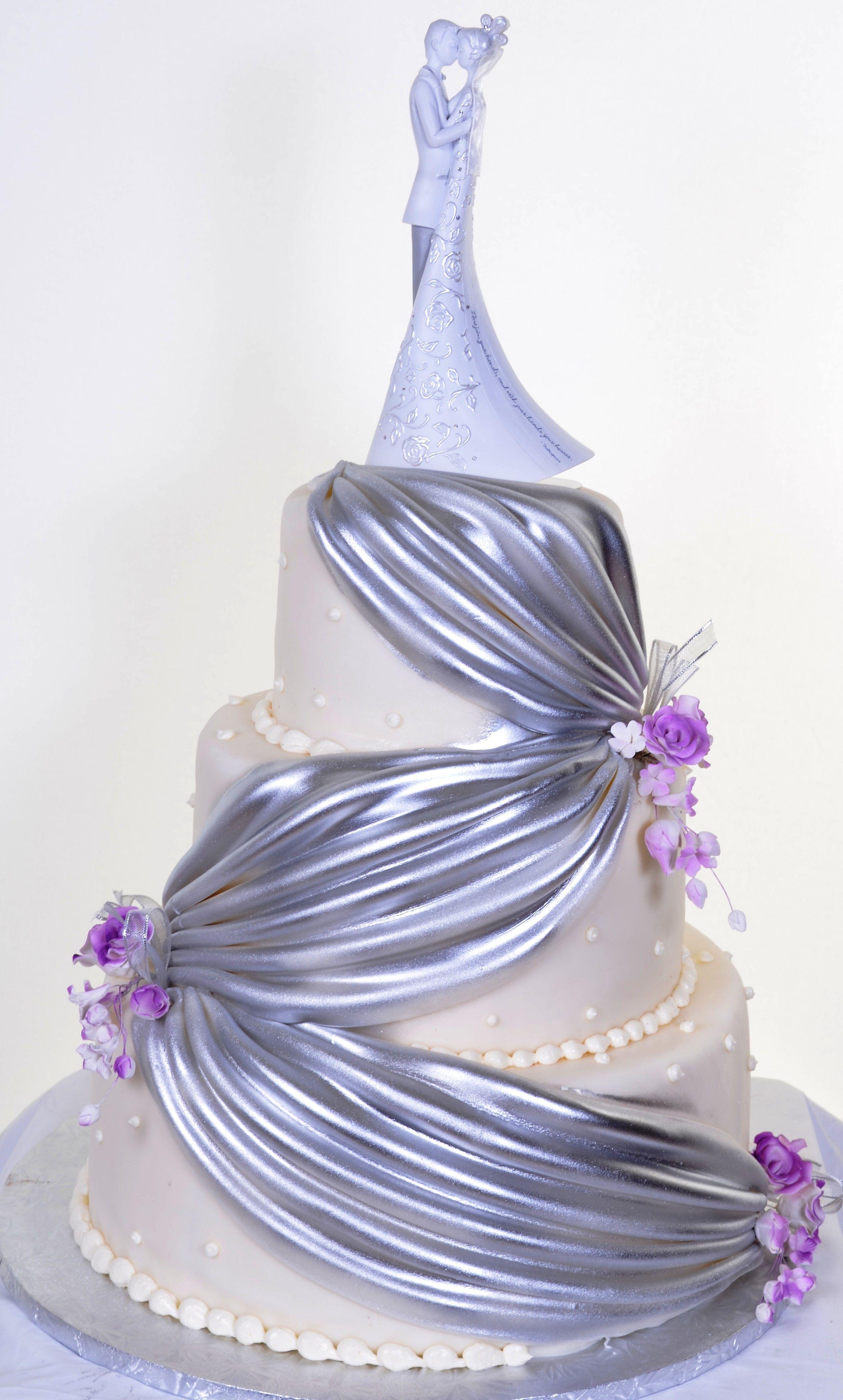 Pastry Palace Las Vegas - Wedding Cake #348 – Silver Drapes & Pearls ...