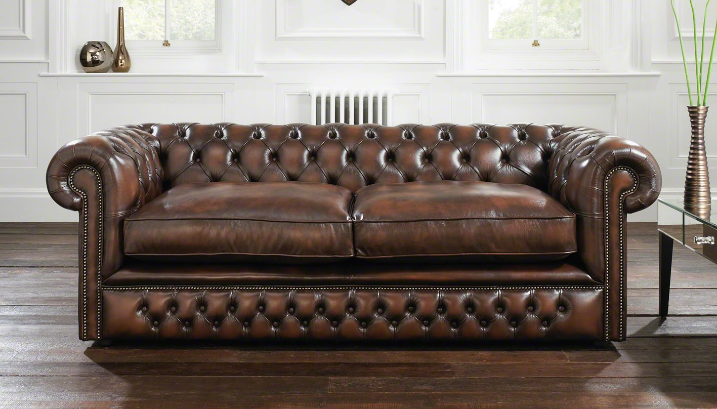 Brown Classic Leather Chesterfield Sofa With Button Tufted