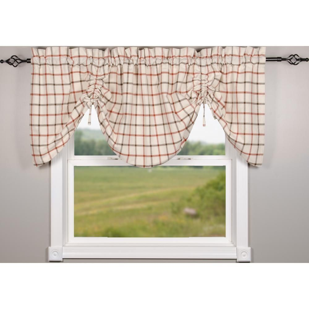 Put some fall colors in your window with our white orange and white harvest plaid gathered valance made with 100 cotton measuring at 72 x 36 it would