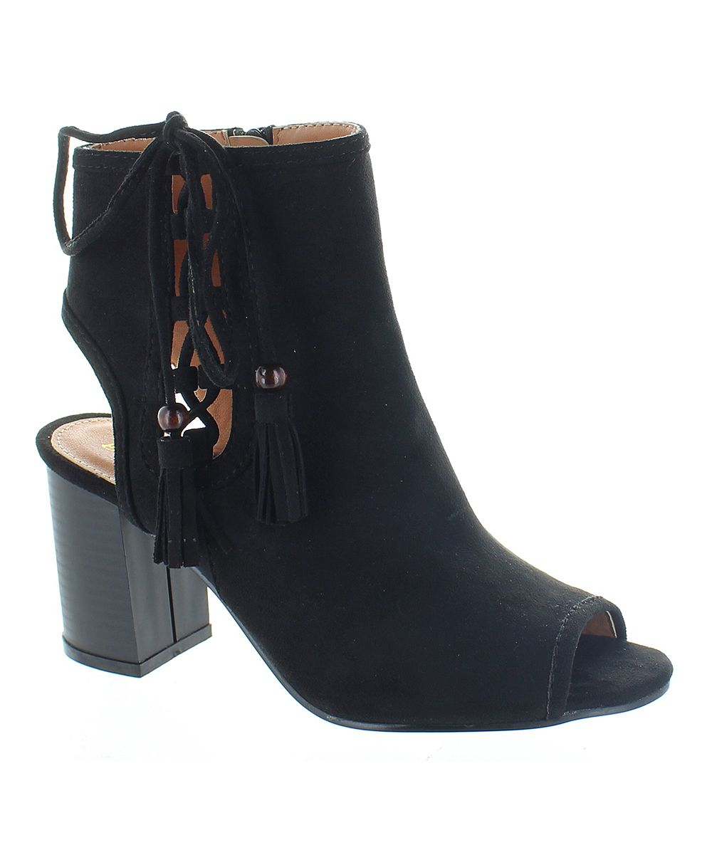 Black Jocelyn Peep-Toe Bootie