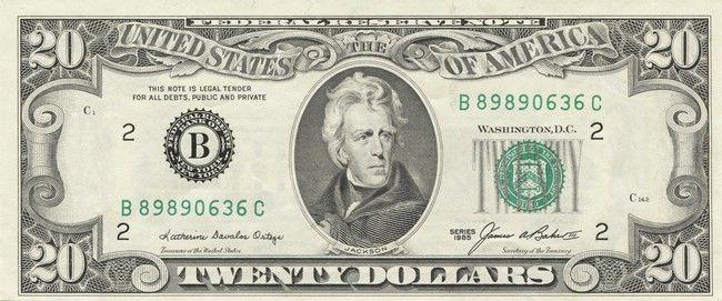 20 Dollars 1985 Jackson Federal Reserve Bank Of New York Ny Geldscheine Geld Scheine