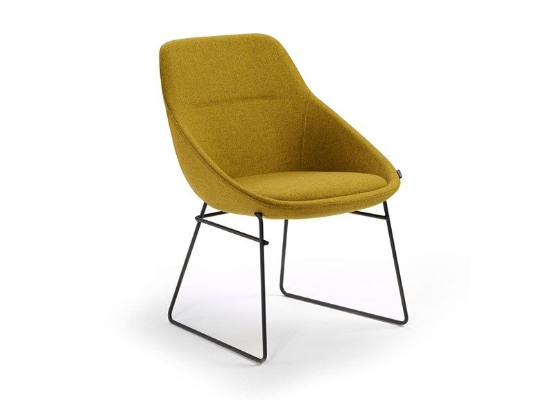 Sled Base Upholstered Fabric Chair Ezy Sled Base Chair Offecct