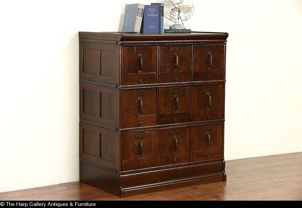 Stacking 9 Drawer 1900 Antique Oak File Cabinet Tilting Fronts