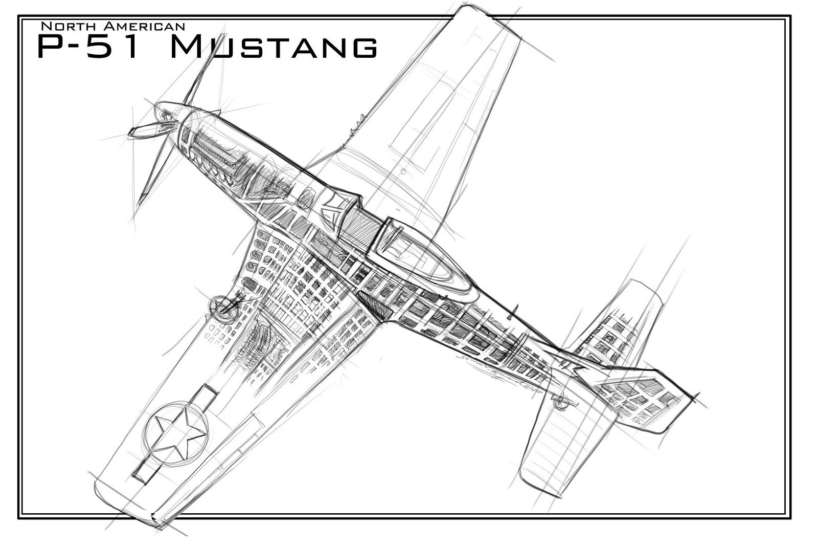 Mustang Plane Coloring Pages - Jesyscioblin