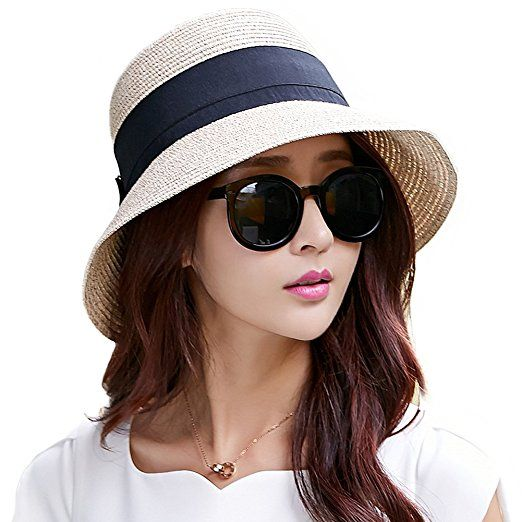 54196f141d2 Siggi Ladies Summer Straw Panama Beach Fedora Floppy Sun Hat Wide Brim  Bowknot for Women Beige. UK hats. It s an Amazon affiliate link.