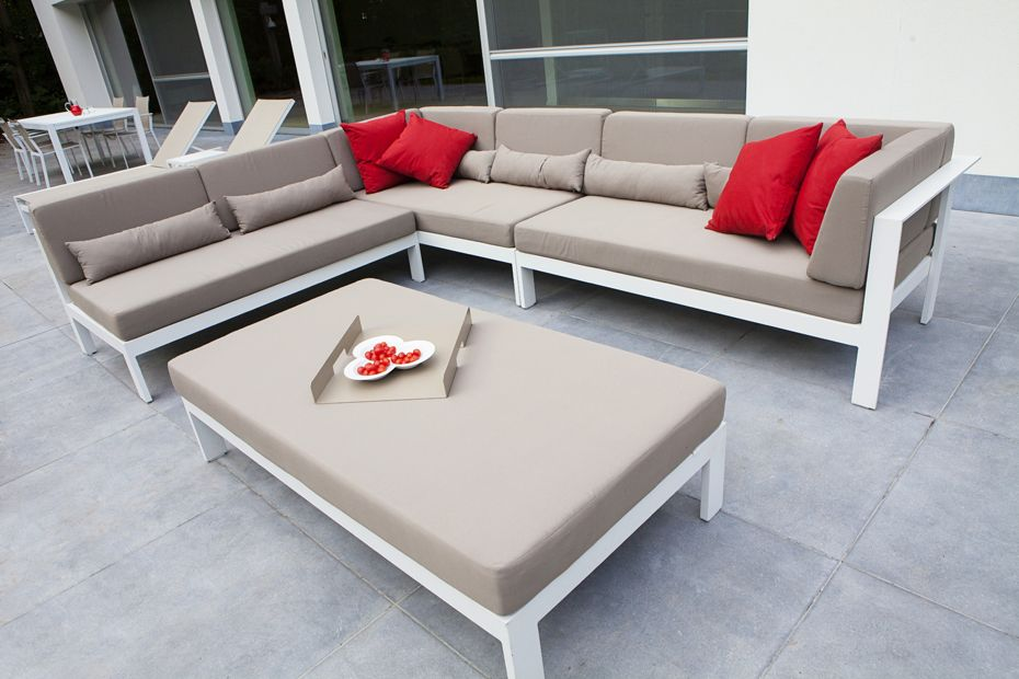 White Alu Lounge Set Modular Taupe Kussens Alu \ Inox Garden