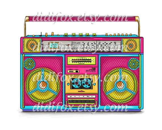 Boombox Pink Retro Cassette Player Neon Color Digital Print For Instant Download Printable Illustration Png Jpg Files 8x10 A0048 Boombox Boombox Drawing Retro