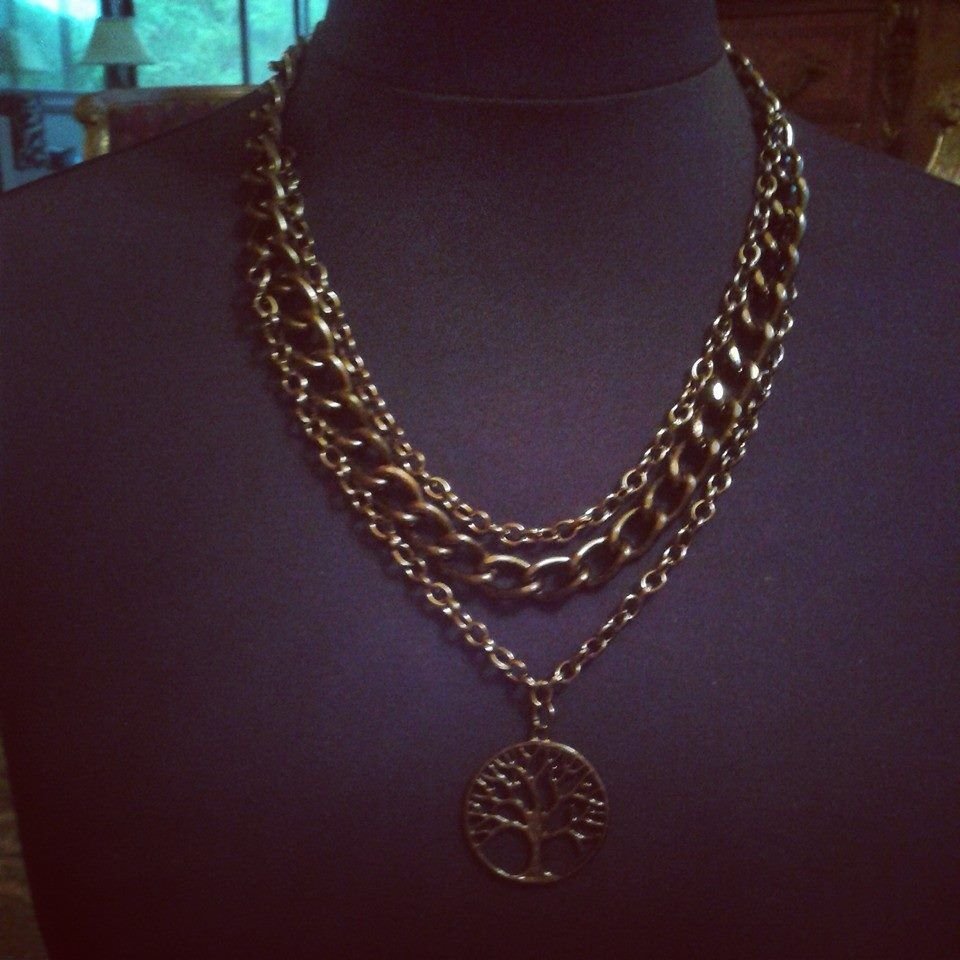 ND-247 (Necklace)  Black iron chains with tree of life black pendant. $59