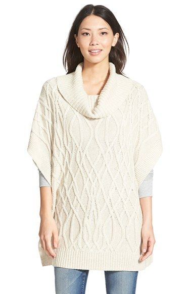 Caslon® Cowl Neck Cable Knit Sweater Cape (Regular & Petite)  ...