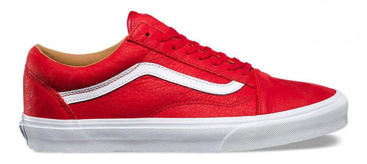 6ebd5f3d3ae Vans Old Skool (Premium Leather) Racing Red True White