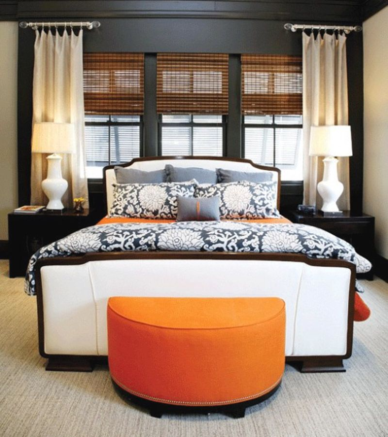 Colorful Bedroom With Orange Accents