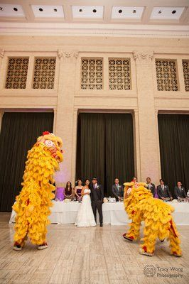 Lion Dancers At A Chinese American Wedding Against The Tall Ceilings Bently Reserve
