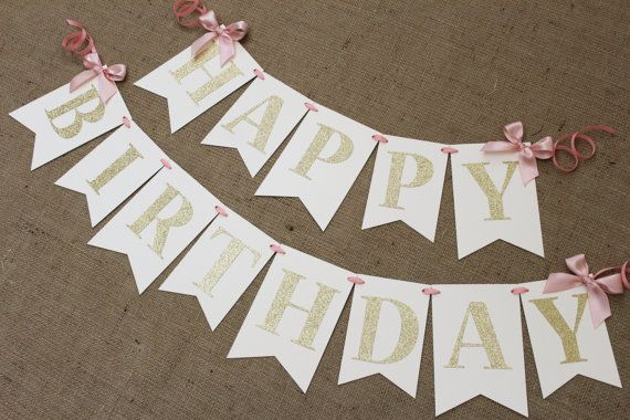Blush Pink, Ivory and Gold Birthday Banner | Sillas altas, Banderin ...