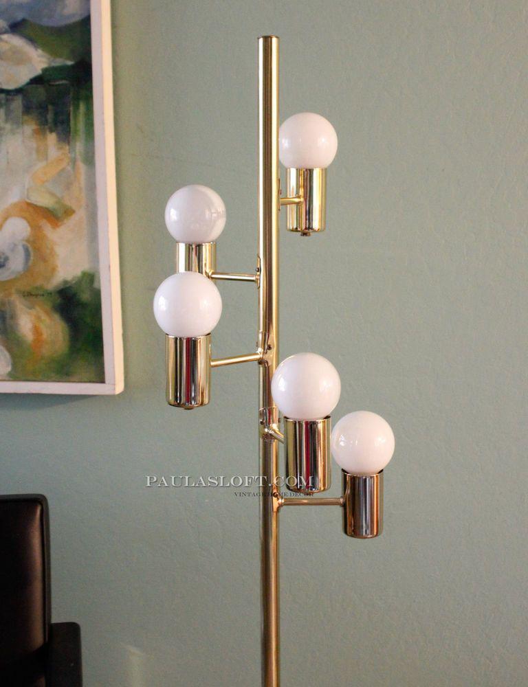 Mid century floor lamp brass eyeball bulb globe can pole light vtg mid century floor lamp brass eyeball bulb globe can pole light vtg sonneman mozeypictures Gallery
