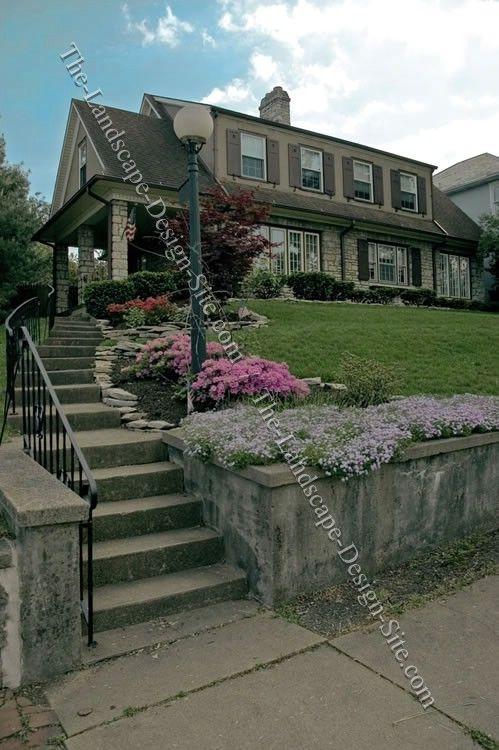 hillside front yard steps flower bed planter ideas | Yard & House ...