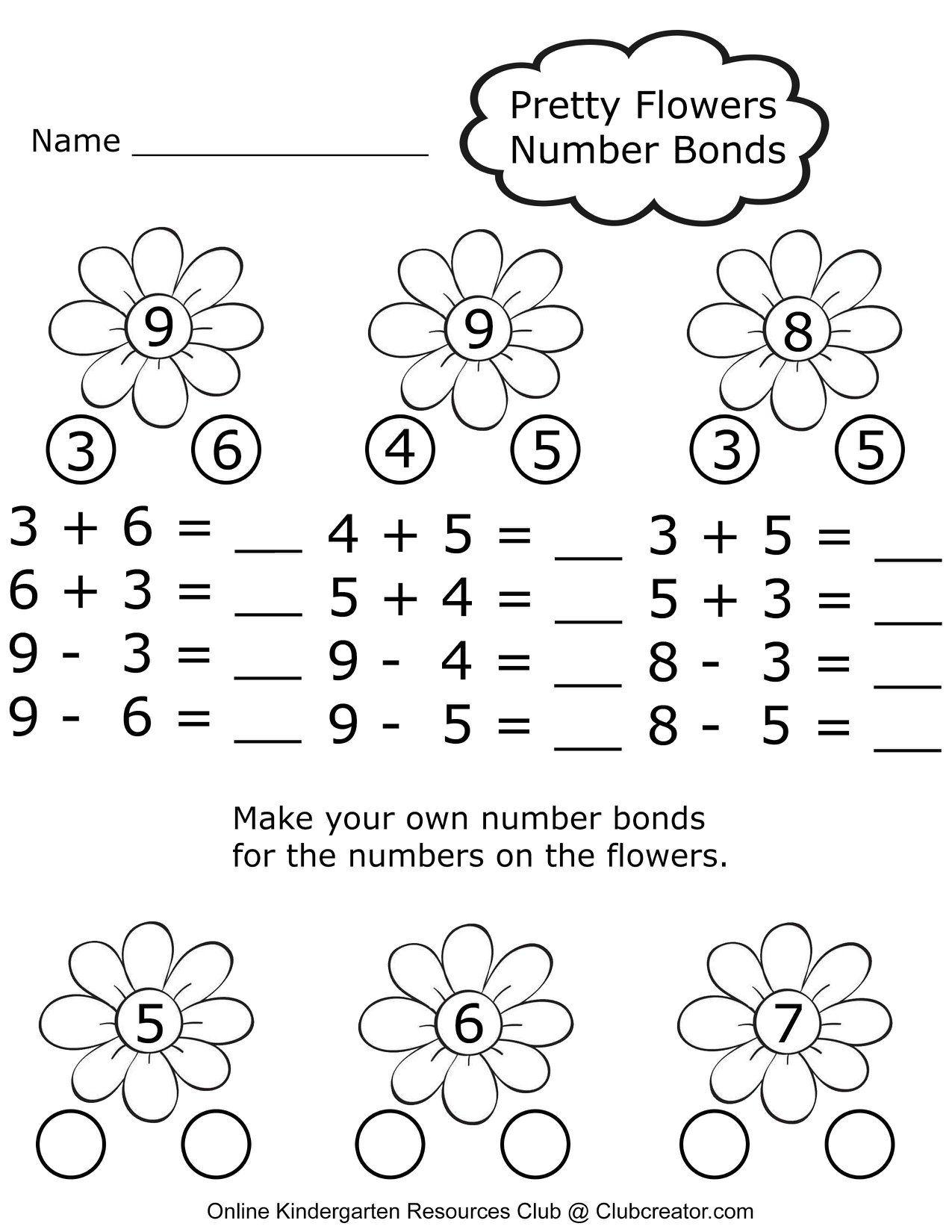 Number Bonds Worksheet Number Bonds Worksheets Numbers Kindergarten Kindergarten Worksheets [ 1650 x 1275 Pixel ]